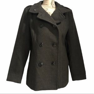 H&M double breasted button up pea coat sz 14 gray